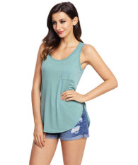 Green plain pull over t-shirt with side splits 01