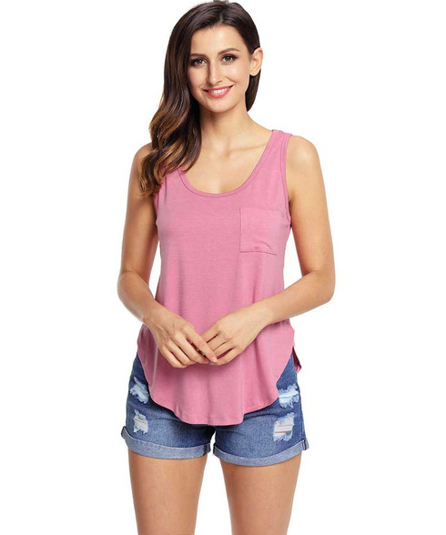 Pink plain pull over t-shirt with side splits 01