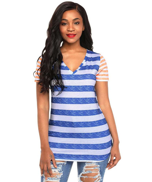 Blue contrast stripe block short sleeve t-shirt 01