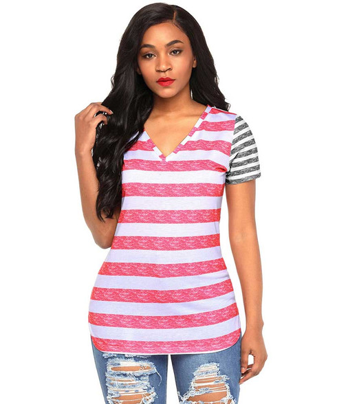 Pink contrast stripe block short sleeve t-shirt 01