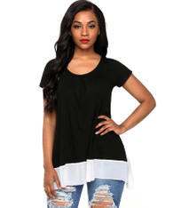 Black contrast chiffon trim hem short sleeve t-shirt 01