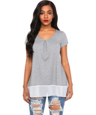 Grey contrast chiffon trim hem short sleeve t-shirt 01