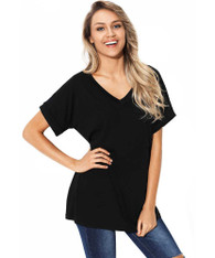 Black V neck short sleeve t-shirt with chest pocket 01