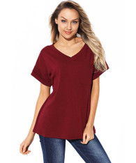 Red V neck short sleeve t-shirt with chest pocket 01
