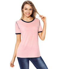 Pink contrast trim short sleeve t-shirt 01