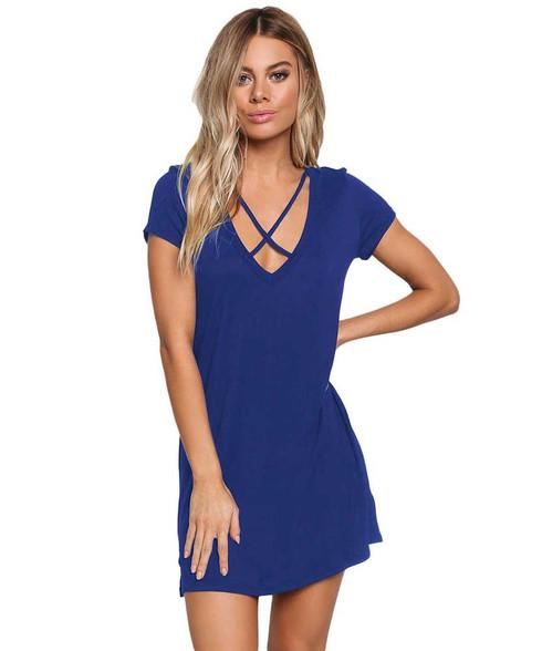 Blue V neck front cross strap mini dress 01