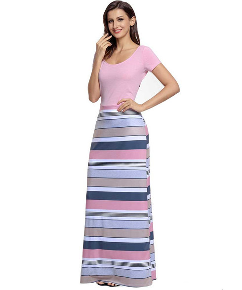 Pink stripe pattern cut out crisscross back maxi dress 01
