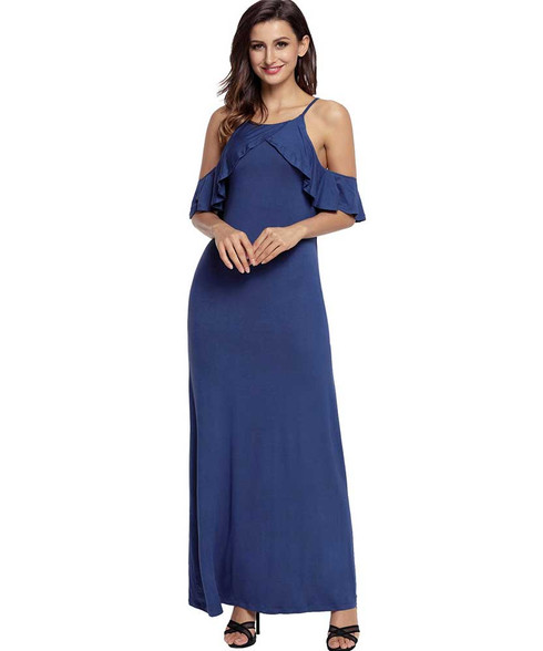 Blue ruffle sleeve shoulder cut out cami maxi dress 01