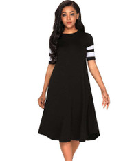 Black stripe block ruched high waist midi dress 01