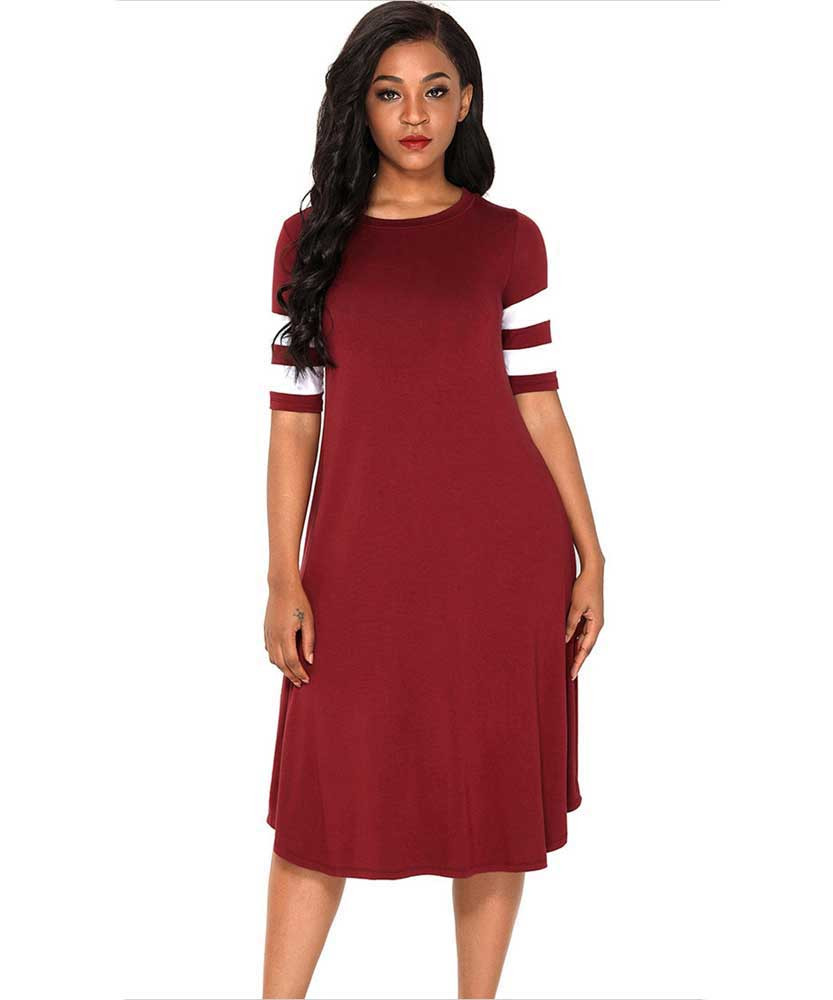 be74c0409901f Athleisure CHUNNA Womens Half Sleeve V-Neck High Waist Midi Dress with  Pockets Dresses