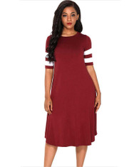 Red stripe block ruched high waist midi dress 01