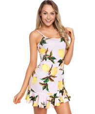 Yellow fruity print cami ruffle hem mini dress 01