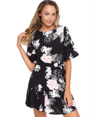 Black floral print mid sleeve ruffle mini dress 01