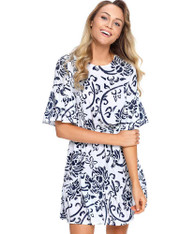 Blue floral print mid sleeve ruffle mini dress 01