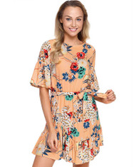 Apricot floral print mid sleeve ruffle mini dress 01