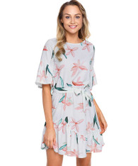 Pink floral print mid sleeve ruffle mini dress 01