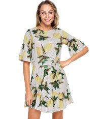 Yellow fruity print mid sleeve ruffle mini dress 01