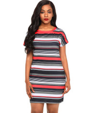 Red color stripe block short sleeve mini dress 01