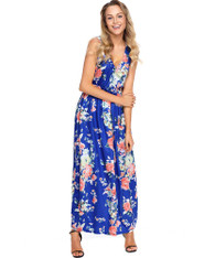 Blue floral print sleeveless V neck maxi dress 01