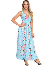 Skyblue floral print sleeveless V neck maxi dress 01