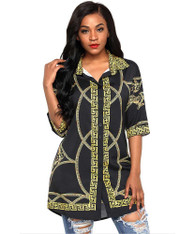Black pattern print button shirt style mini dress 01