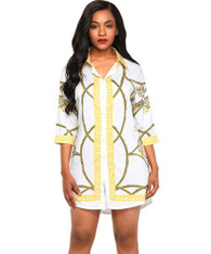 White pattern print button shirt style mini dress 01