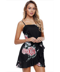 Black cami floral print high waist wrap mini dress 01