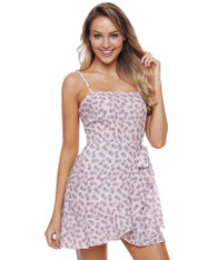 Pink cami fruit print high waist wrap mini dress 01