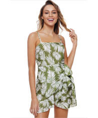 Green cami floral print high waist wrap mini dress 01