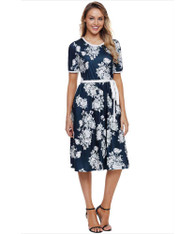 Blue floral print high waist midi dress with pocket 01
