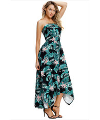 Black floral print high low off shoulder maxi dress 01