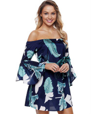 Blue floral print bell sleeve off shoulder mini dress 01