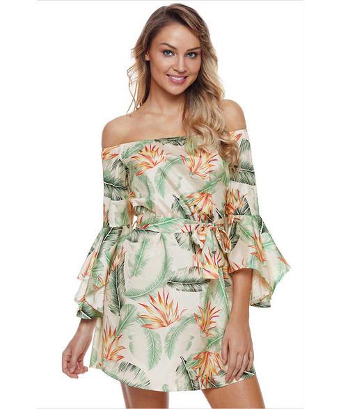 Green floral print bell sleeve off shoulder mini dress 01