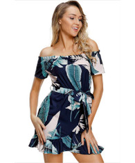 Blue floral print wrap style off shoulder mini dress 01