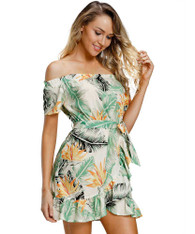 Green floral print wrap style off shoulder mini dress 01