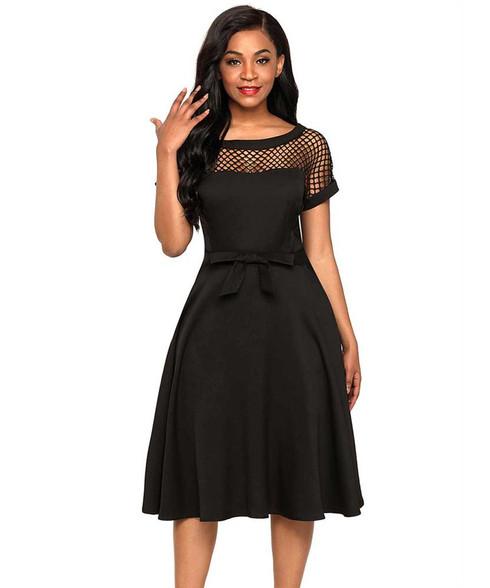 Black hollow cut butterfly high waist midi dress 01