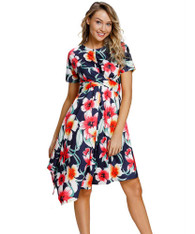 Navy floral print ruffle irregular hem midi dress 01