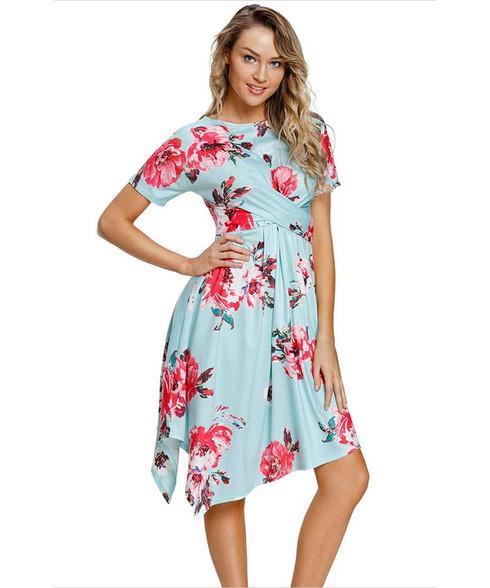 Green floral print ruffle irregular hem midi dress 01