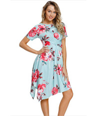 Green floral print ruffle irregular hem midi dress 01