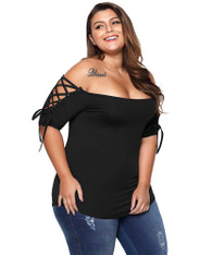 Black off shoulder cross strap sleeve plus size t-shirt 01