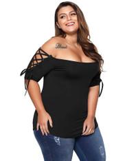 Black off shoulder cross strap sleeve plus size t-shirt 01