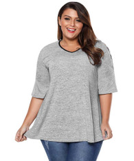 Grey cross cut shoulder sleeve plus size t-shirt 01