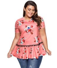 Pink floral print ruffle hem tassel plus size t-shirt 01