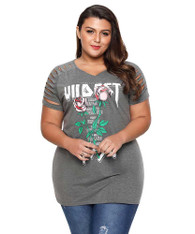 Grey floral print ripped shoulder plus size t-shirt 01