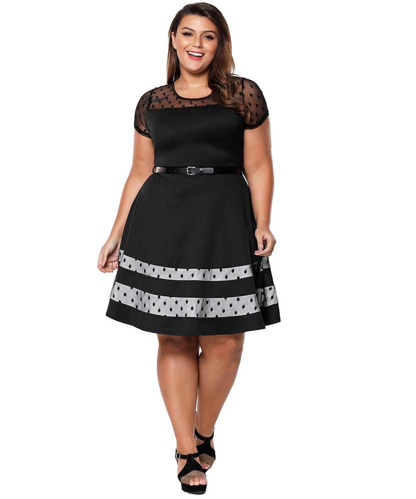 d294e85fd4 Black dot hollow mesh neck plus size mini dress 01