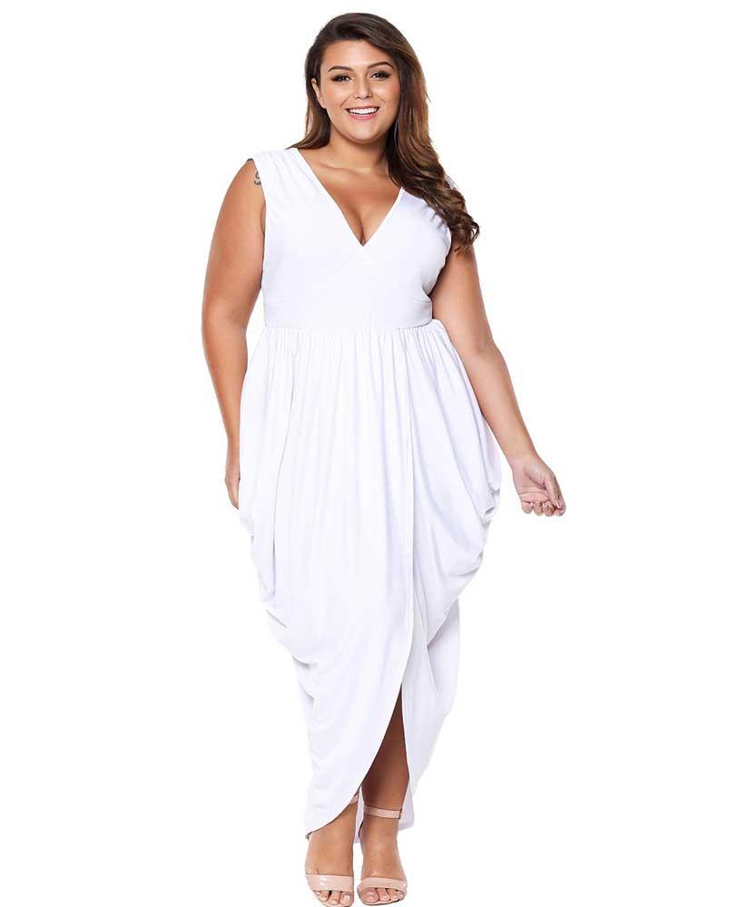 f67de79773dc White V neck draping ruffle plus size maxi dress 01