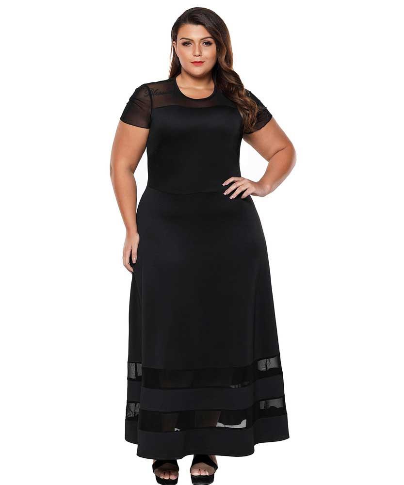 Black Organza trim plain plus size maxi dress   Womens plus size ...