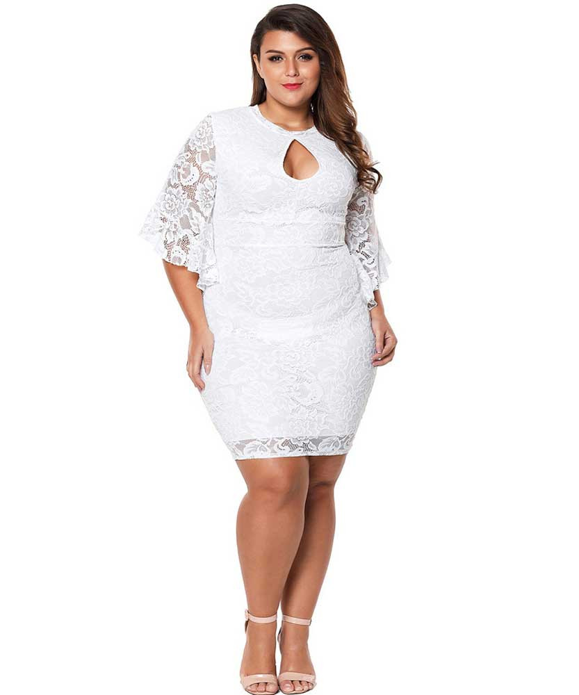 White floral lace bell bodycon plus size mini dress | Womens plus ...