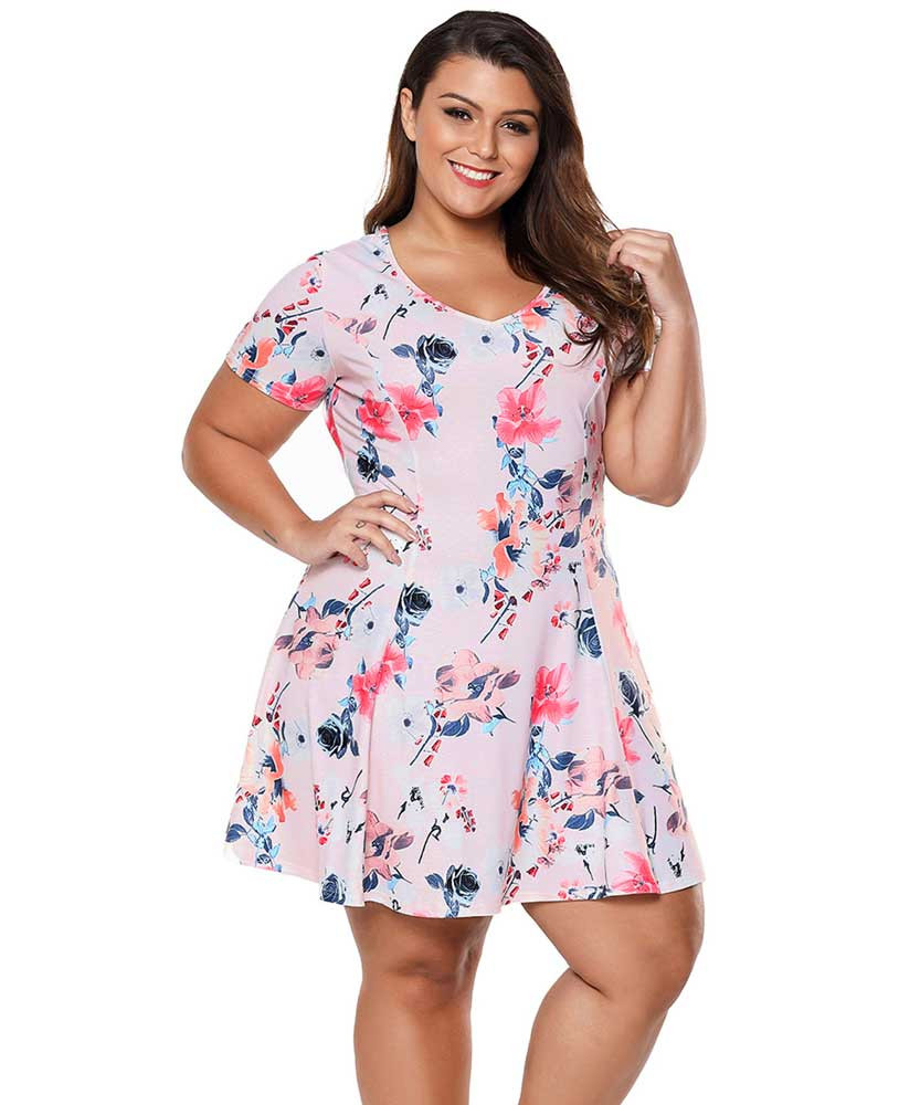 Pink floral print V neck ruffle plus size mini dress | Womens plus ...
