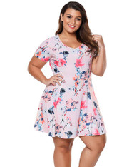 Pink floral print V neck ruffle plus size mini dress 01